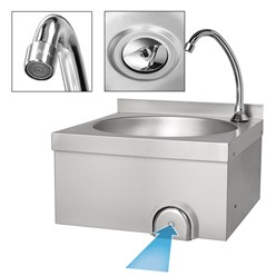Handwaschbecken 40x40x44 cm, aus V2A Edelstahl, inkl. Seifenspender