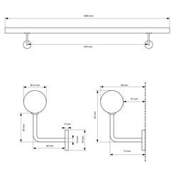 Edelstahl V2A Handlauf silber, 100x4.2 cm, inkl. Wandhalterung