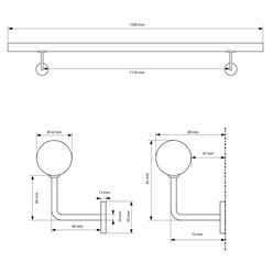 Edelstahl V2A Handlauf silber, 150x4.2 cm, inkl. Wandhalterung