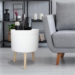 Beistelltisch rund Ø 35 cm, Weiß, Tischplatte aus MDF, Beine aus Kiefernholz