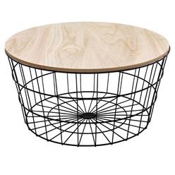 Beistelltisch runde Ø 67 x 34 cm, mit abnehmbarer MDF-Holzplatte und Metallkorb
