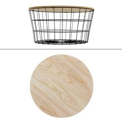 Beistelltisch runde Ø 67x34 cm, mit abnehmbarer MDF-Holzplatte und Metallkorb