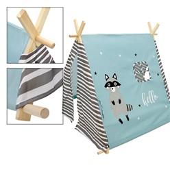 Spielzelt für Kinder, 117x108x105 cm, türkis / grau-weiß gestreifte Türblenden, aus Polyester
