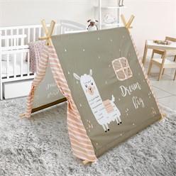 Spielzelt für Kinder, Grau mit Lamamotiv, mit zwei Türen und einem Fenster