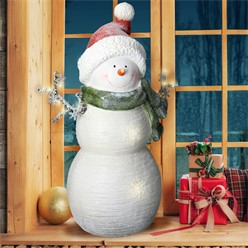 Decorative figure snowman with 12 LED's warm white 57 cm, white with red winter cap and green scarf