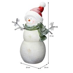 Deko Figur Schneemann mit 12 LED's Warmweiß 57 cm, Weiß mit roter Wintermütze und grünem Schal