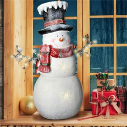 Deco figure snowman with 12 LED's warm white, 57 cm high, white with black cylinder and red scarf
