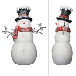 Deko Figur Schneemann mit 12 LED's Warmweiß, 57 cm hoch, Weiß mit schwarzem Zyliner und rotem Schal