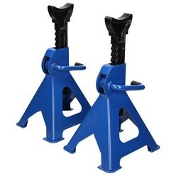 2er Set Unterstellböcke, blau, Traglast 3000 kg, aus Stahl
