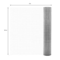 Volierendraht Maschendraht, aus verzinkter Stahl, Drahtstärke 1,2 mm, Maschenweite 25x25 mm, Länge 5 m, Höhe 0,5 m