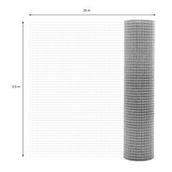 Volierendraht Maschendraht, aus verzinkter Stahl, Drahtstärke 1,2 mm, Maschenweite 25x25 mm, Länge 25 m, Höhe 0,5 m