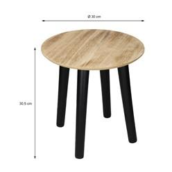 Beistelltisch rund Ø 30 cm, mit schwarzen Beinen aus Kiefernholz