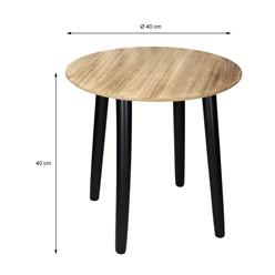 2er Set Besitiltisch Rund Ø 30/40 cm, aus Kiefernholz mit schwarzem Beinen