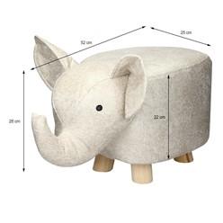 Tierhocker für Kinder 52 x 25 x 28 cm, Beige, mit Massivholzbeinen