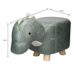 Tierhocker für Kinder 51 x 25 x 35 cm, Grau-Grün, mit Massivholzbeinen