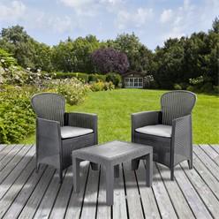 Gartenmöbel Set 3-Teilig aus Polypropylen, Graphit in Rattanoptik