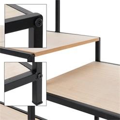 Standregal mit 6 Ablagen, 96x120x32 cm, schwarz/natur, aus Metall und Holz