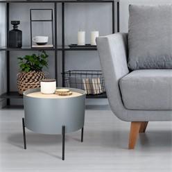 Beistelltisch grau, Ø 40x35.5 cm, rund, mit Metallbeine und Tischplatte aus MDF