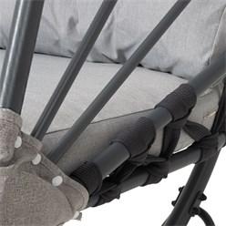 Hängesessel grau mit Gestell und Kissen, aus Stahlrohr pulverbeschichtet, bis 150 kg