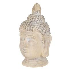 Buddha Kopf Statue beige/grau, 30x30x55 cm, aus Kunststein