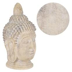 Buddha Kopf Statue beige/grau, 45x39x78 cm, aus Kunststein
