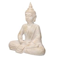 Buddha Figur beige/grau, 40x24x48 cm, aus Kunststein