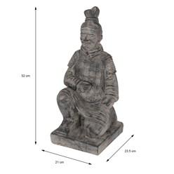 Soldat Kniend Skulptur grau, 52.5 cm, aus Kunststein