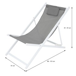 Liegestuhl grau, 61x91x101 cm, aus Aluminium und Polyester