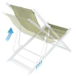 Liegestuhl grün, 61x91x101 cm, aus Aluminium und Polyester