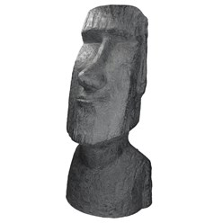 Moai Rapa Nuil Kopf Figur anthrazit, 28x25x56 cm, aus Steinguss Kunstharz