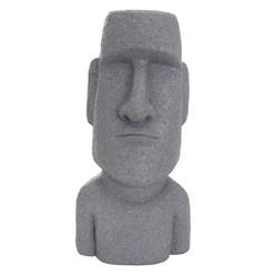 Moai Rapa Nui Kopf Figur grau, 28x25x56 cm, aus Steinguss Kunstharz