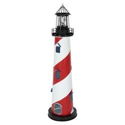 LED-Solar Leuchtturm mit Dämmerungssensor rot/weiß, 81 cm, aus Kunststoff