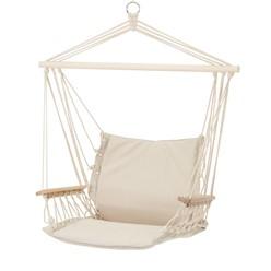 Hängesessel natur mit Sitzkissen, aus Baumwolle und Hartholz, belastbar bis 120kg