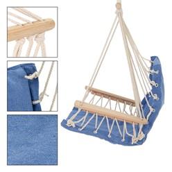 Hängesessel blau mit Sitzkissen, aus Baumwolle und Hartholz, belastbar bis 120kg