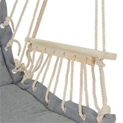 Hängesessel grau mit Sitzkissen, aus Baumwolle und Hartholz, belastbar bis 120kg