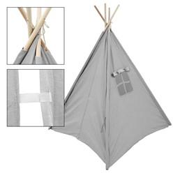 Spielzelt für Kinder grau, 115x115x160 cm, mit Fenster aus Bamwolle