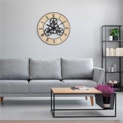 Wanduhr Ø 57 cm, eichenoptik, aus MDF Holz und Metall