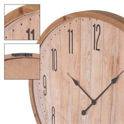Große Wanduhr, Ø 76cm, Fichtenoptik, aus MDF-Holz und Glas