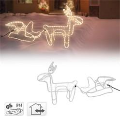 LED Deko Rentier mit Schlitten, warmweiß, 324 LEDs, aus PVC