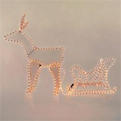 LED Deko Rentier mit Schlitten, warmweiß, 504 LEDs, aus PVC
