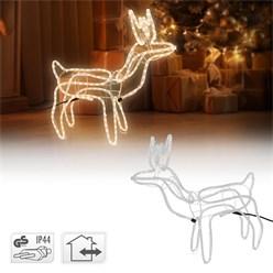 LED Rentier mit 216 LED Birnen, Warmweiß, 68x61 cm, aus PVC