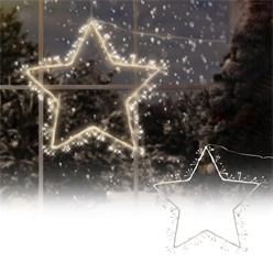 Stern Dekoleuchte mit LED Beleuchtung, weiß/braun, 120 LEDs, aus Metall