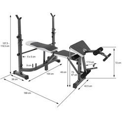 Multifunktion Hantelbank mit Ablage, anthrazit, aus Metall, bis 255 kg