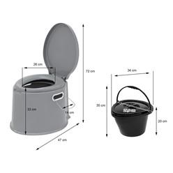 Campingtoilette 5L tragbar, grau, bis 200 kg, aus PP Kunststoff