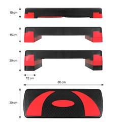 Stepper für Aerobic und Fitness 80x30 cm rot aus Kunststoff