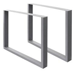 2er Set Tischbeine grau, 90x72 cm, aus pulverbeschichtetem Stahl