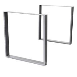2er Set Tischbeine grau, 70x72 cm, aus pulverbeschichtetem Stahl