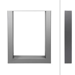 2er Set Tischbeine grau, 30x43 cm, aus pulverbeschichtetem Stahl