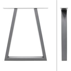 2er Set Tischbeine Trapez Design grau, 60x72 cm, aus pulverbeschichtetem Stahl