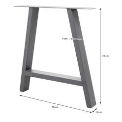 2er Set Tischbeine A-Design grau, 70x72 cm, aus pulverbeschichtetem Stahl